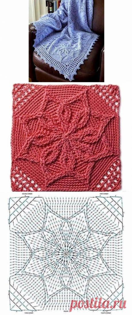 Красивый квадратный мотив для вязаного пледика