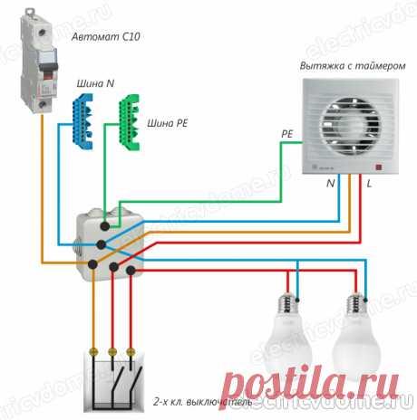 Подключение вентилятора в ванной через выключатель света – 3 способа