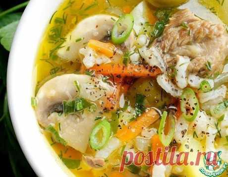 Мясной суп с шампиньонами и оливками – кулинарный рецепт