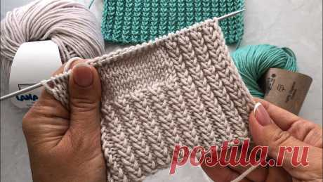 Двусторонняя резинка спицами. Видео МК | Вязание спицами для начинающих очень понравился узор