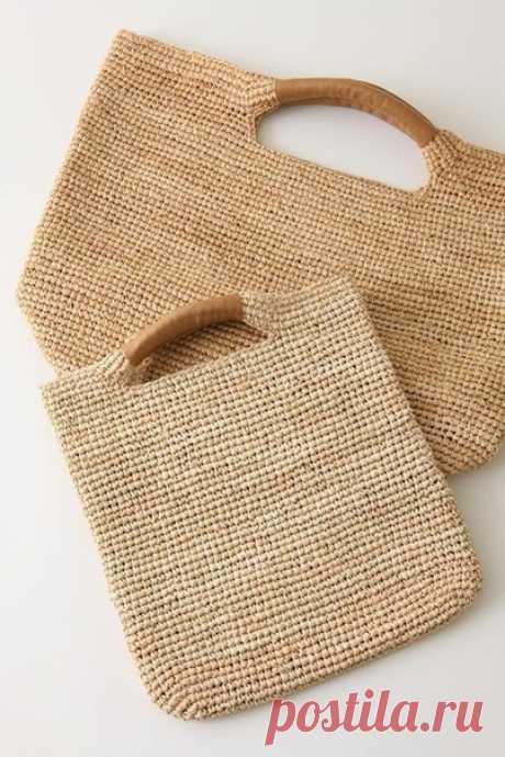 СУМКА - АВОСЬКА. ИДЕЯ. Нашла сумку, очень даже симпатичную. Вяжется легко. Отделка ручек из кожи.