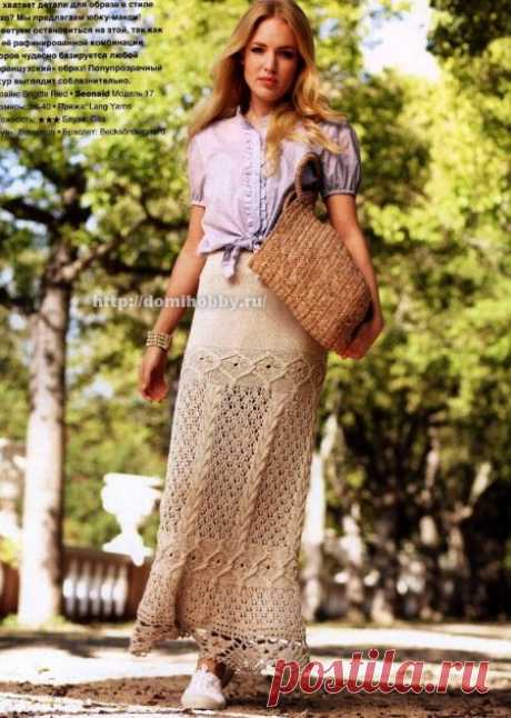 Романтичная юбка спицами