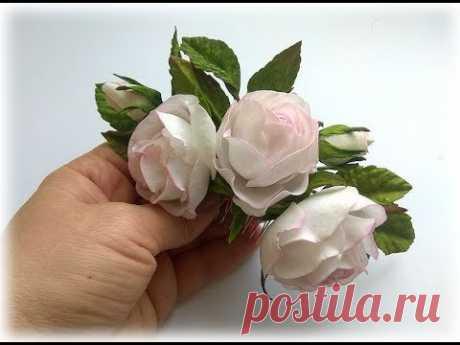 Гребень в причёску нежными розами из фоамирана