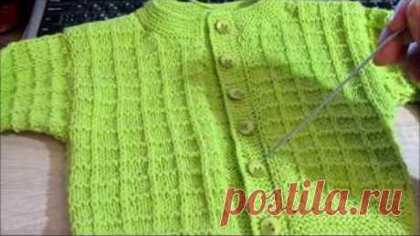 Простая кофточка для малыша спицами. Baby jacket knitting.