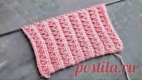 Красивейшая волнистая резинка спицами для вязания шапок, носков, жилеток