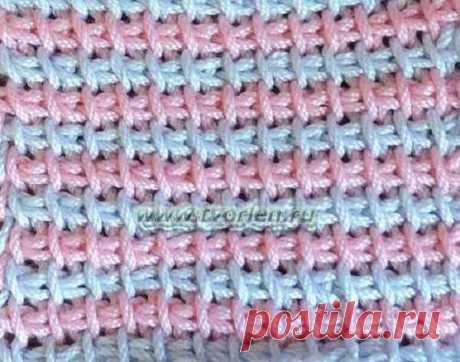 Тунисское вязание в несколько цветов  пошаговые фото с текстовыми коментариями
