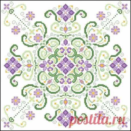 схема для вышивки крестом подушки Цветочные узоры