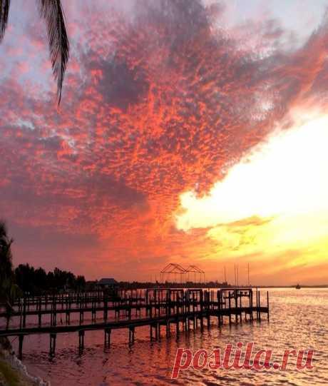 Восход ФЛОРИДЫ! ☀️🔥  Мать-природа устроила красочное шоу этим утром над Шарлотт-Харбор.