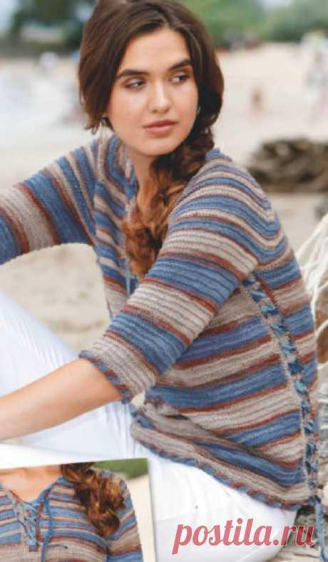 Жёлтый пуловер в полоску спицами (2 часть) Женский пуловер в полоску, вязаный спицами (2 часть) оформление боковых швов шнуровкой