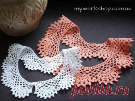 We knit a hook a lacy collar. \u000d\u000aWe knit a hook a lacy collar. \u000d\u000aSuch collar will decorate the simplest dress or a blouse\u000d\u000a\u000d\u000a Begin knitting with a chain of air loops. Length of a chain has to correspond to cut circle length (about …