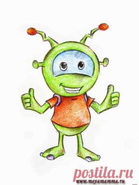 Рисунок для детей Инопланетянин Мастер-класс