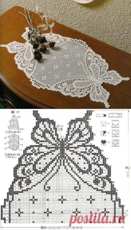 """Шикарная салфетка крючком """"Бабочки"""" из категории Интересные идеи – Вязаные идеи, идеи для вязания"""