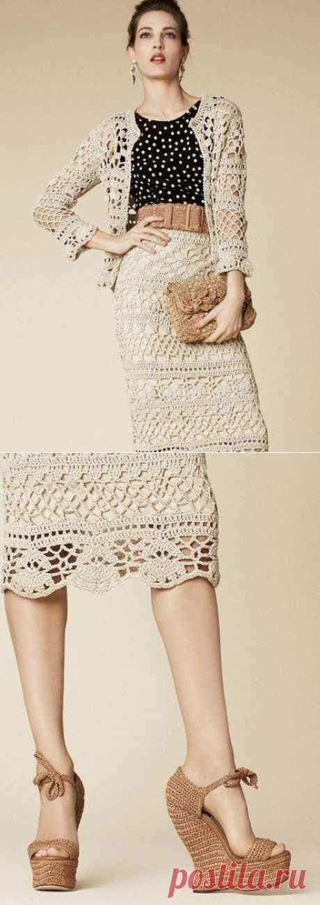 Вязание: ажурный летний костюм из коллекции Dolce&Gabbana 2013 .