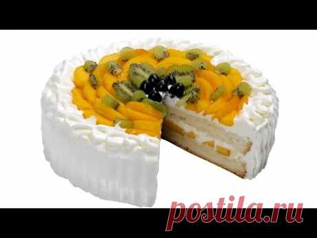 Cake with fruit. The step-by-step recipe of preparation of gentle cake with whipped cream.