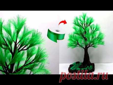Креативные идеи елового бонсай из атласных лент | Чудесное дерево с атласной лентой
