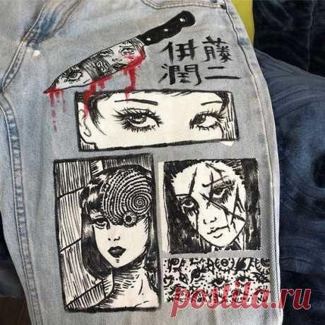 Рисунки на джинсах. Белый акрил, чёрный маркер по ткани.