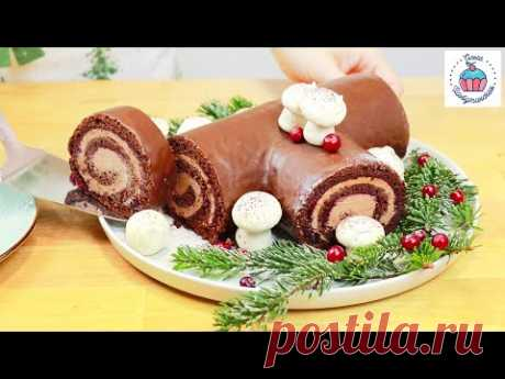 Потрясающий Торт РОЖДЕСТВЕНСКОЕ ПОЛЕНО (Bûche de Noël)