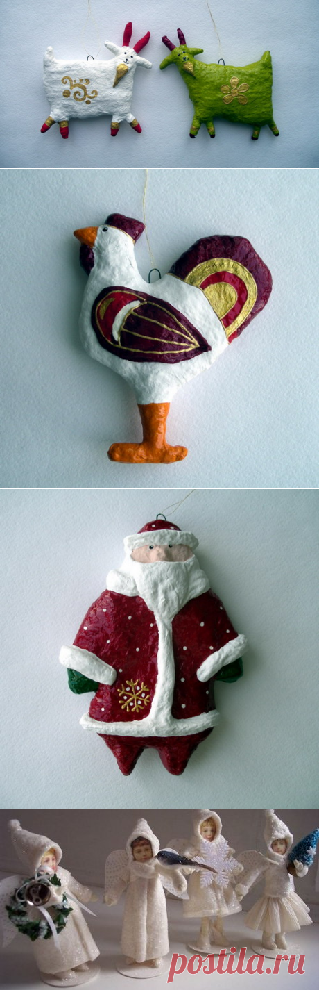 Елочные игрушки из ваты (мастер класс)