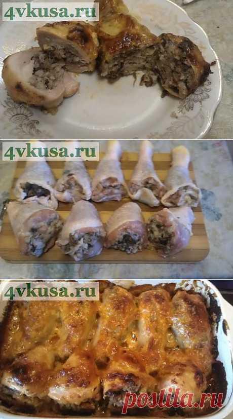 Куриные голени, фаршированные гречкой с грибами | 4vkusa.ru