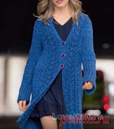 Теплое пальто с ажурными бордюрами схема спицами » Люблю Вязать