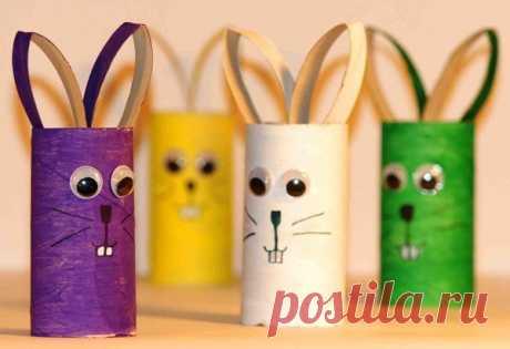 «Потешные зайчики из втулки туалетной бумаги» — карточка пользователя Anton V. в Яндекс.Коллекциях
