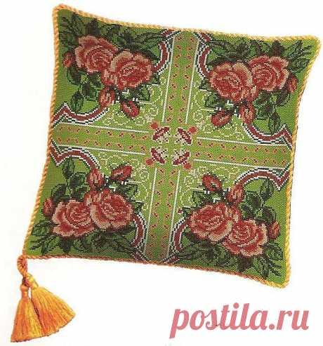 Вышивка крестом для подушки. Бесплатная схема для вышивки подушки Цветочная вышивка крестом для подушки. Бесплатная схема для вышивки декоративной подушки