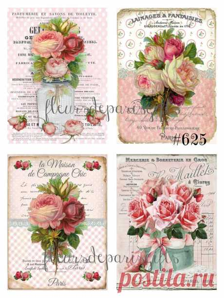 Shabby Chic Vintage French Flowers Pink Roses 4 SMALL Prints | Etsy