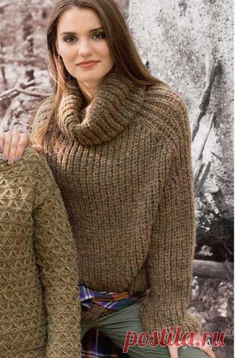 Пуловер покроя реглан с воротником гольф, Вязание спицами для женщин
