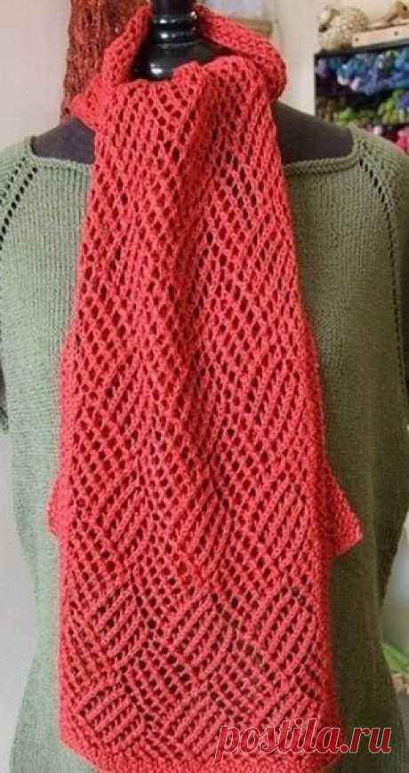 Ажурный геометрический узор для вязания легкого шарфика