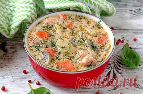 Сырный суп с форелью и грибами
