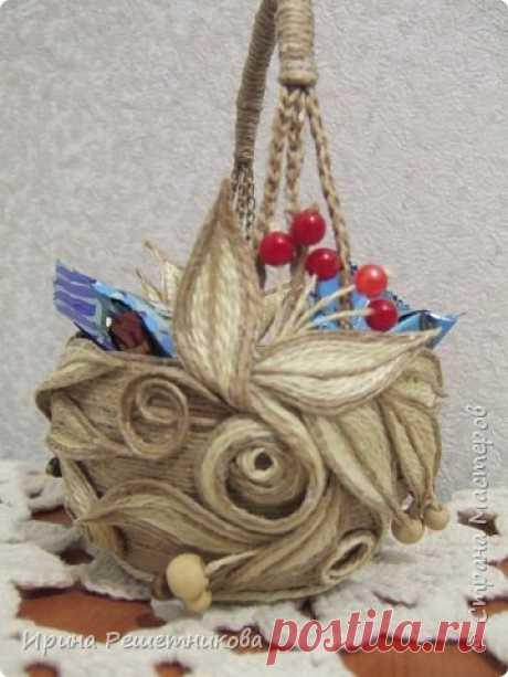 Джутовая вазочка-конфетница.МК. | Страна Мастеров