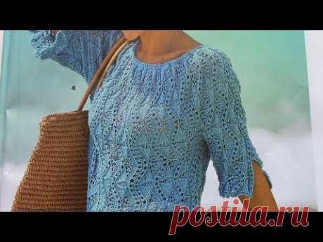 МК узора. МОДНЫЙ пуловер, связанный поперек!(c описанием).#связатьлетнийпуловер#связатьажурныйузор