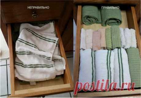 Как хранить полотенца компактно и красиво и как их сворачивать для хранения