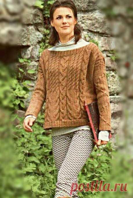 Короткий пуловер с косами | Пуловер, свитер, жакет.