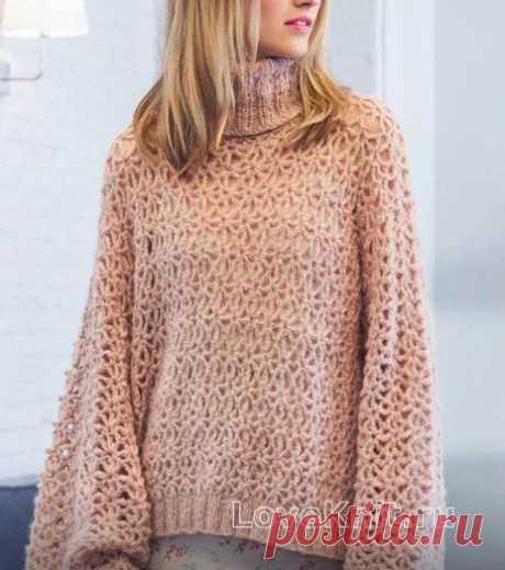 Ажурный пуловер с широкими рукавами схема спицами » Люблю Вязать