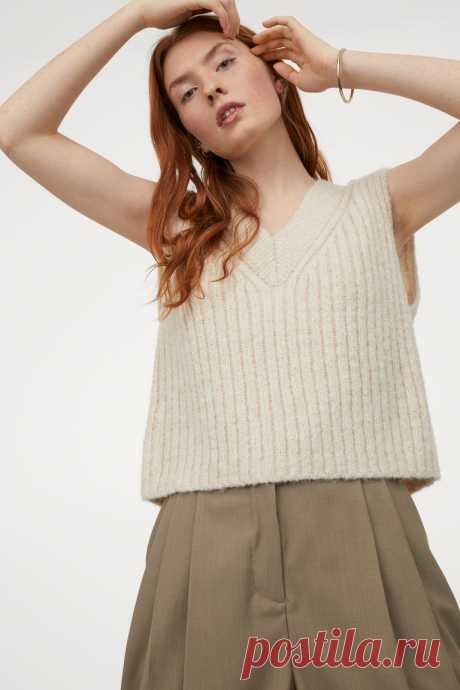 Ribbed Sweater Vest - Natural white - Ladies   H&M US