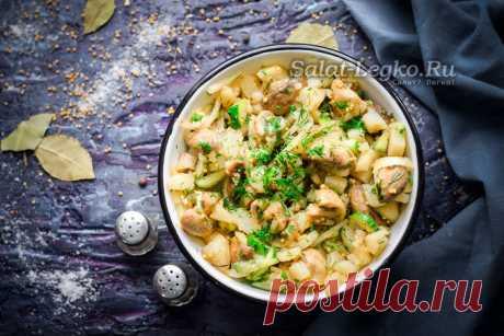 Постный салат с грибами, рецепт с фото очень вкусный