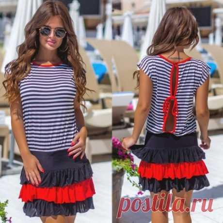 Платье в морском стиле | красивые летние платья. Скидки. Доставка.