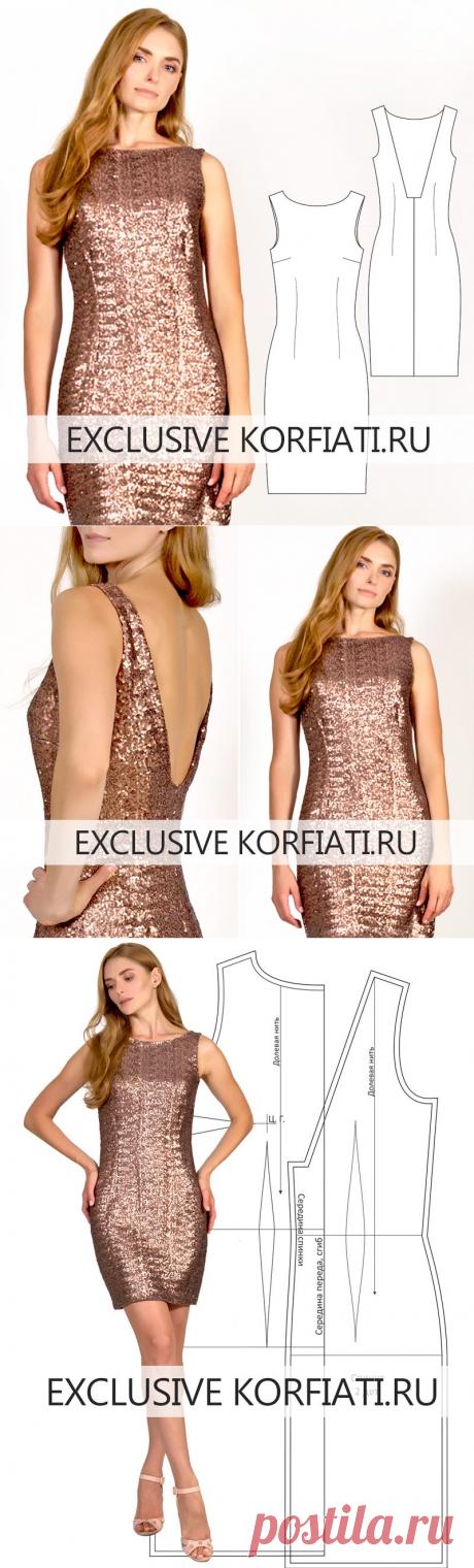 Готовая выкройка платья без рукавов для скачивания от А. Корфиати