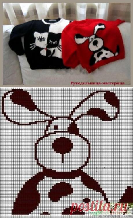 Детские пуловеры с забавными рисунками. Вязание спицами.