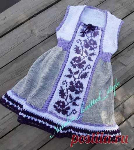 Платье Май для девочки спицами, Вязание для детей