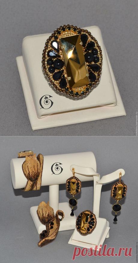 """Купить Кольцо """"L'Amour de l'or"""" - золотой, черный, кристаллы сваровски, готье, капутт, кольцо"""