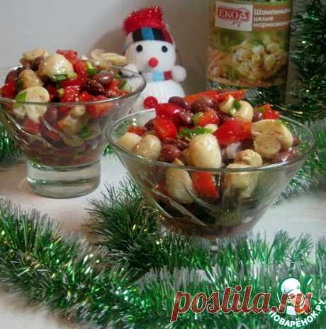 Салат с фасолью, шампиньонами и перцем – кулинарный рецепт