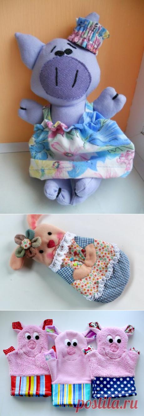 Шьем хрюшек-свинюшек из фетра и ткани (с выкройками)