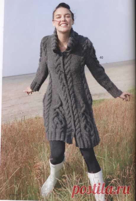 Пальто с арановыми узорами спицами. Как связать красивое пальто спицами | Я Хозяйка
