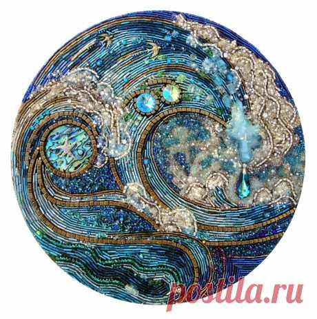 "Quite Clearly Ocean | 10"" diameter Beaded mosaic on wood. Re… | Flickr"