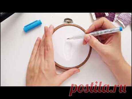 Как перевести рисунок на ткань,  вышивка гладью