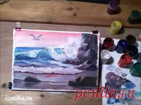 Морской пейзаж с чайкой. Гуашь