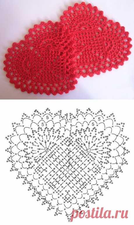 Ажурные схемы вязания сердечка крючком