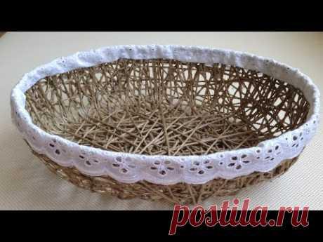 how to make a jute rope basket - jüt iple sepet yapımı - YouTube